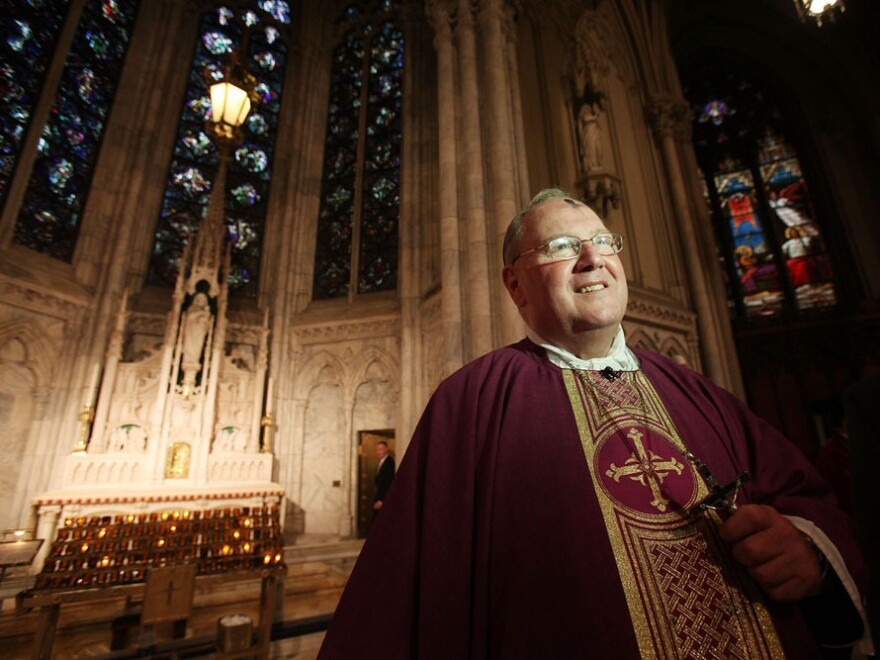 "Archbishop Timothy M. Dolan, head of the U.S. Conference of Catholic Bishops, shown at Ash Wednesday services at Saint Patrick's Cathedral last year, has called the Obama administration's decision ""a first step in the right direction."""