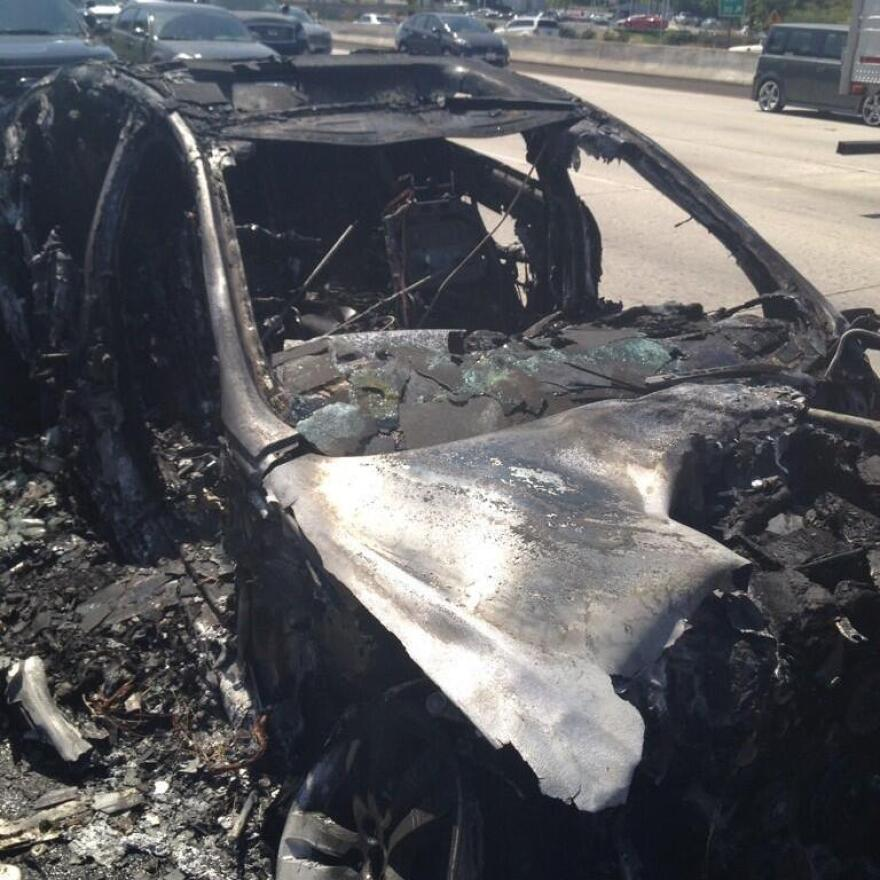Dick Van Dyke's car after the fire. He's willing to sell it.