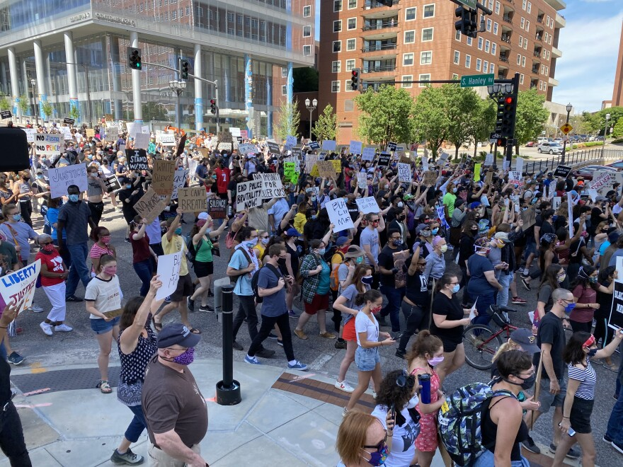 Hundreds of protesters marched from Clayton to University City Saturday afternoon on the second day of St. Louis-area protests over the death of George Floyd. May 30, 2020