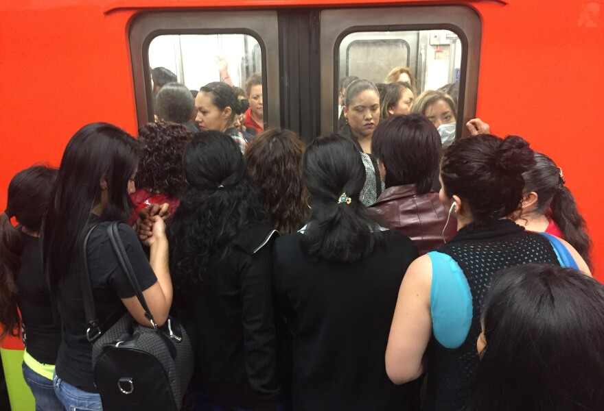 Mexico City's already congested subway has become even more crowded since the government has limited the number of cars on the street to combat smog.