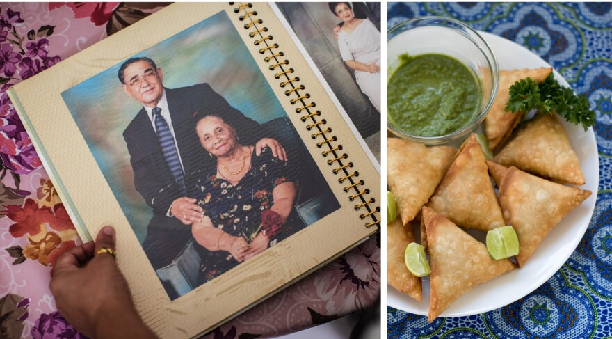 Left: Raju and Shirin Kassam created the original family samosa recipe. Shirin died in 2016. Raju is now 95. Right: Freshly fried samosas.