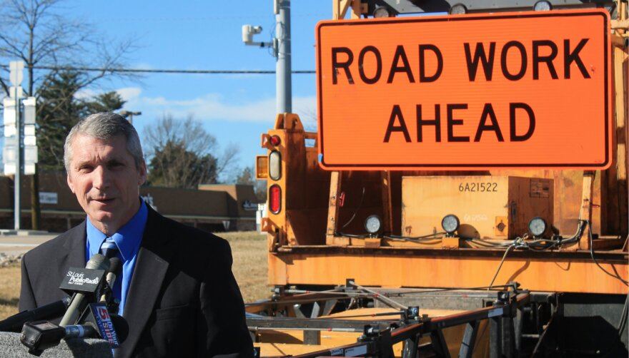MoDOT's district manager Greg Horn announcing construction work in St. Louis region on Friday, Feb. 17, 2017 outside at the Missouri Department of Transportation - February 17, 2017