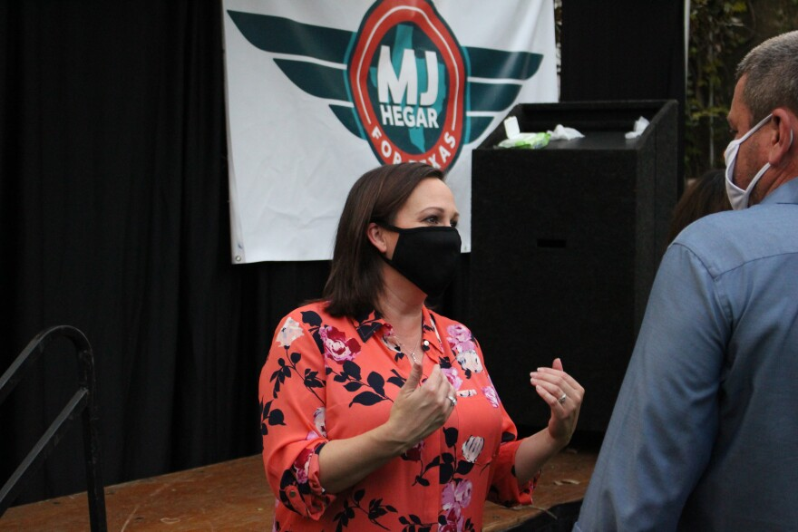 Democrat M.J. Hegar at a Senate campaign event in Fort Worth on October 18.