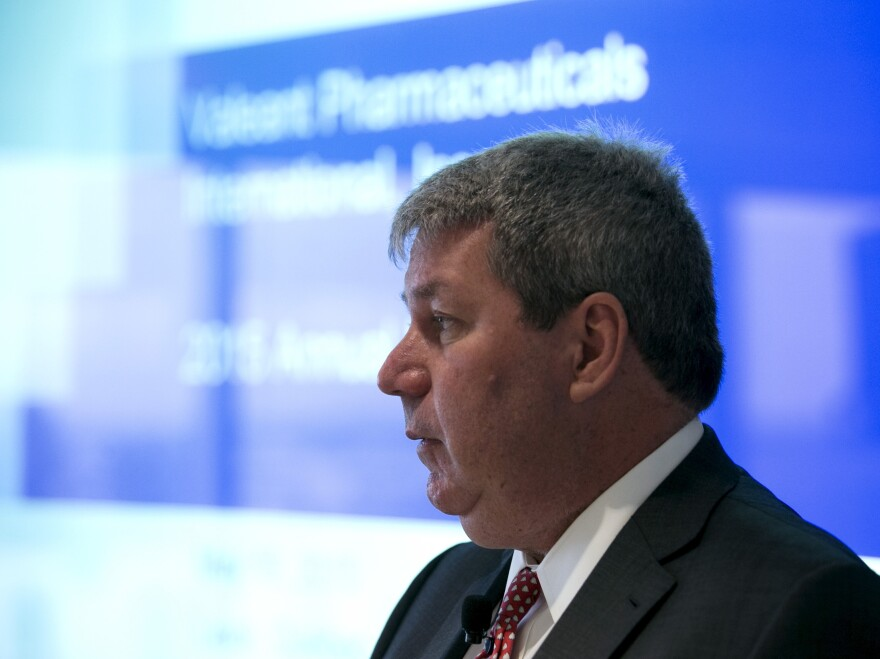 Michael Pearson, chairman and chief executive officer of Valeant Pharmaceuticals International, speaks during the company's annual general meeting in May.