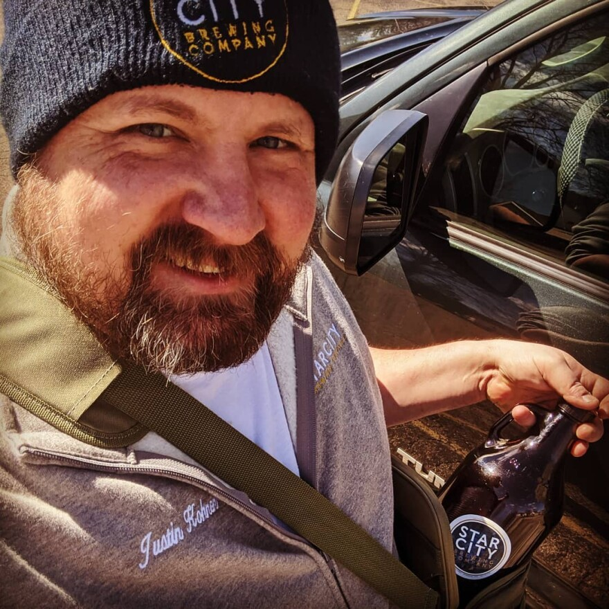 Justin Kohnen from Star City Brewing Company, delivering beer in Miamisburg. While Star City generally has a five-mile delivery radius, Kohnen says they will gladly go further for large orders.