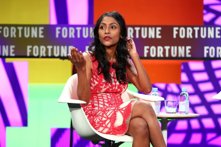 Krish O'Mara Vignarajah speaks during the Fortune Most Powerful Women Next Gen conference in 2017.