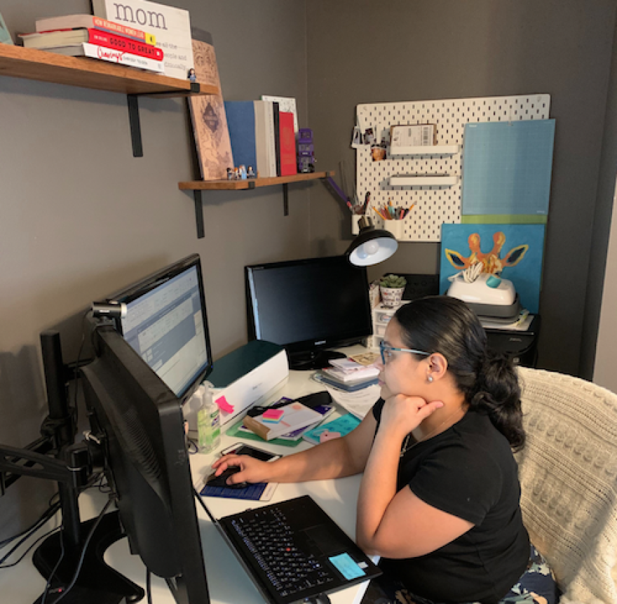 Pamela Wishlade works from her office in her Lake Worth home. She is a client service specialist for an insurance broker.
