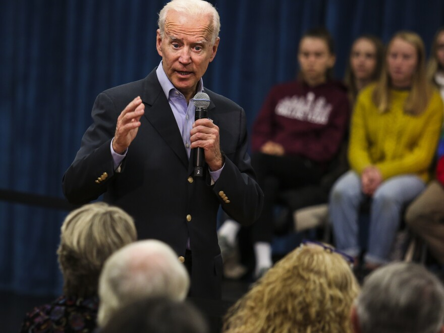 """Former Vice President Joe Biden at a town hall last month in New London, N.H. On Thursday, Biden got into a heated exchange with an Iowa voter, calling the man a """"damn liar."""""""
