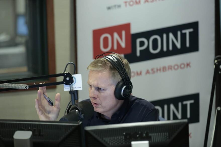 Tom Ashbrook broadcasts Friday morning, November 10, 2017, from Ames, Iowa on Iowa Public Radio. (Christopher Gannon/Iowa State University)