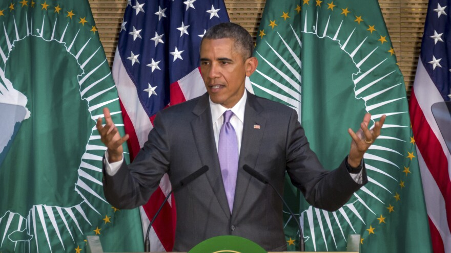 President Obama speaks in Ethiopia. While there, he noted that in the U.S., presidents can't run for more than two terms. But if they could, he said, he'd win.