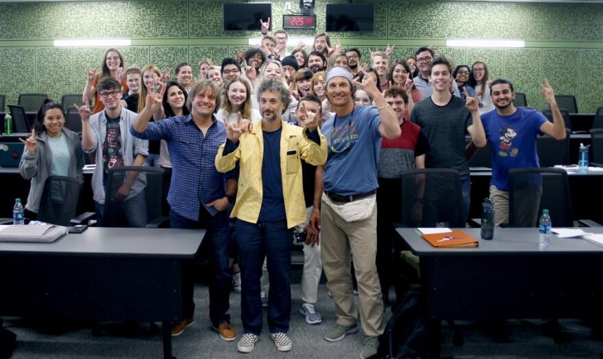 Matthew McConaughey with writer-director Harmony Korine and his spring 2018 UT Austin class