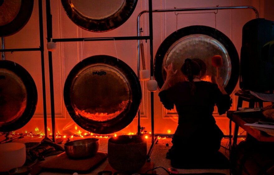 Jodi Roberts of Plano incorporates gongs into the sound therapy she offers clients.