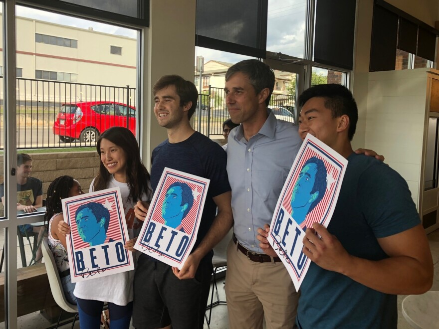 Rep. Beto O'Rourke, the Democratic nominee for Senate in Texas, greets supporters at a cafe in San Antonio.