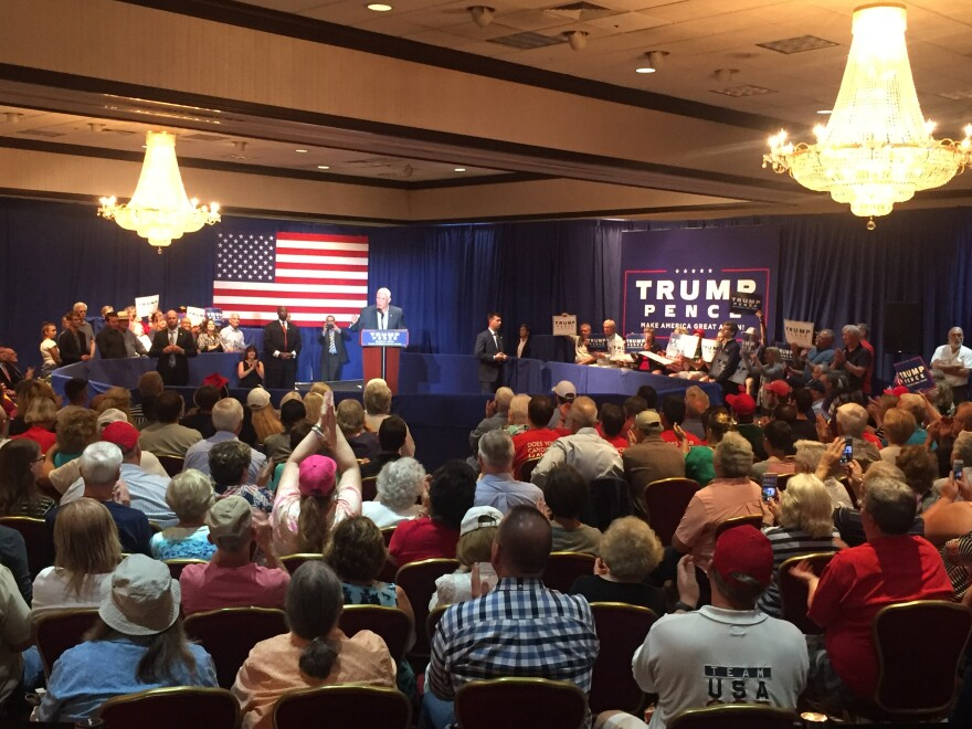 Indiana Governor and Vice-presidential candidate, Mike Pence speaks at the Mandalay Banquet Center in Moraine, Ohio.