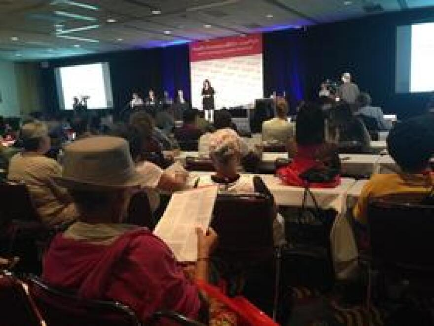 AARP members watch as Lisa Suennen moderates this year's 50  Live Pitch Event at the Miami Beach Convention Center.