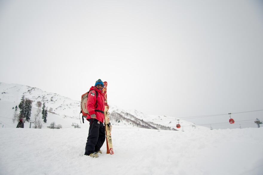 Altaf Khanday, 30, works as a back-country ski guide in Gulmarg for two months a year. His earnings allow him to support seven members of his family all year.