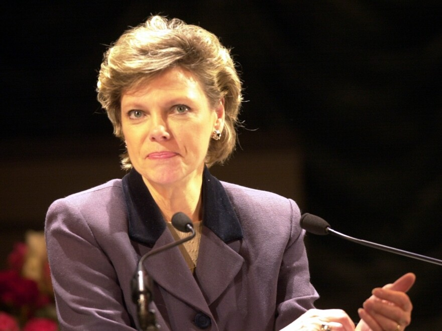Cokie Roberts makes a speech at the Buell Theatre in Denver.