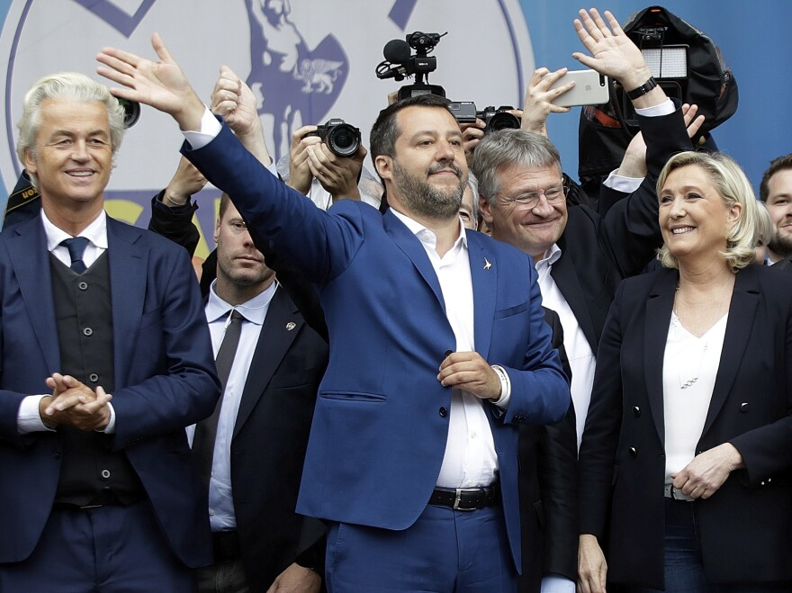 Matteo Salvini (center), flanked by European nationalist leaders, attends a rally ahead of the May 23-26 European parliamentary elections, in Milan on Saturday.