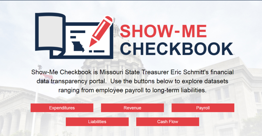 Screenshot from Show-Me Checkbook's home page