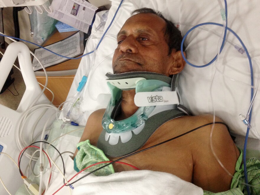 Sureshbhai Patel lies in a bed at Huntsville Hospital in Huntsville, Ala., on Feb. 7, 2015. Patel was severely injured when he was thrown to the ground by police.