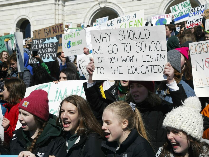 Minnesota students gather on the steps of the state Capitol on Friday as part of global protests by young people.
