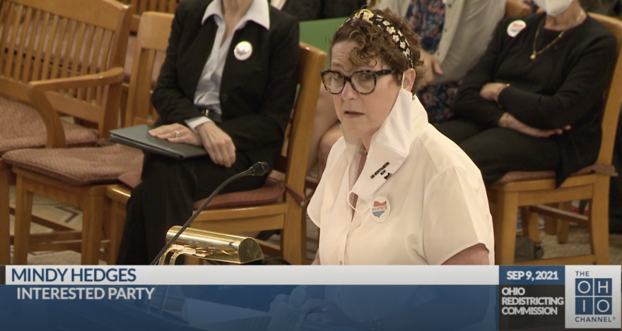 Mindy Hedges, Radnor, testifies in front of Ohio Redistricting Commission at the Ohio Statehouse on September 9, 2021
