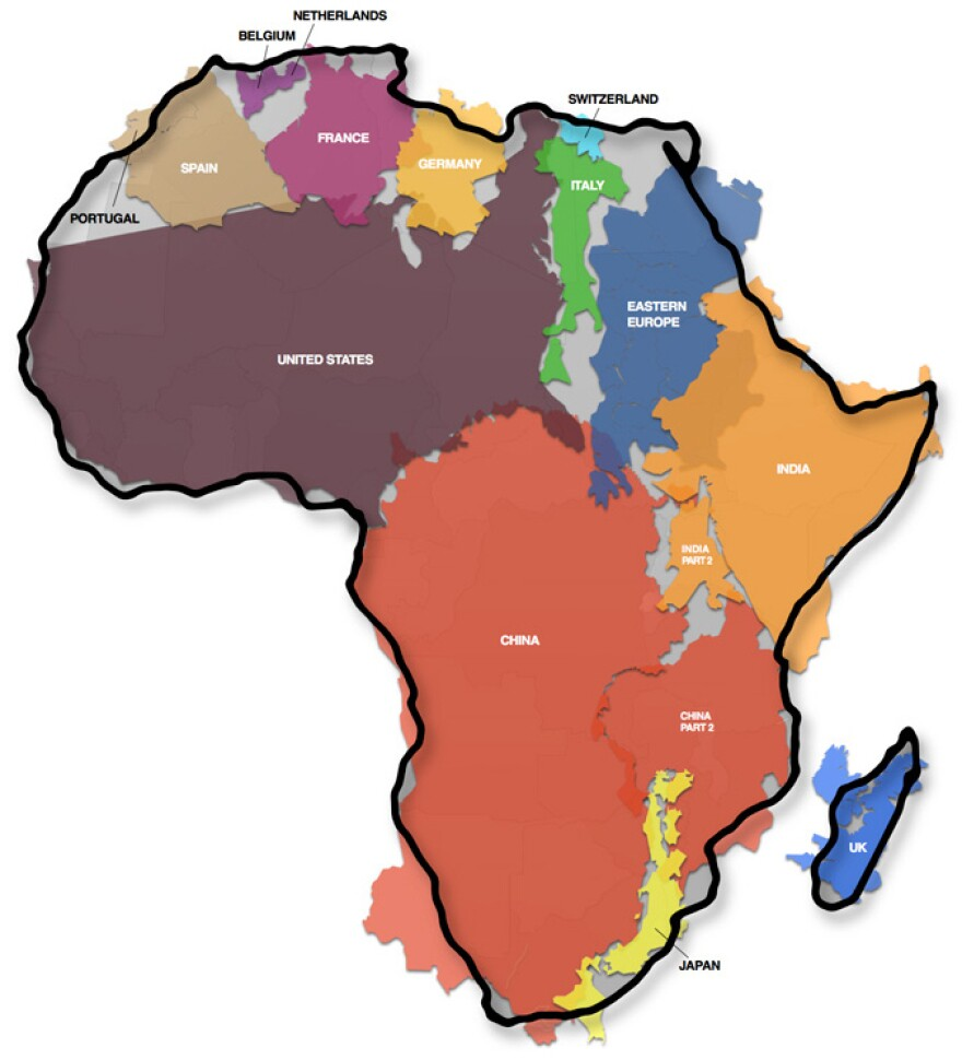"""How big is Africa? This illustration shows how many countries and regions could fit inside """"the cradle of humankind."""""""