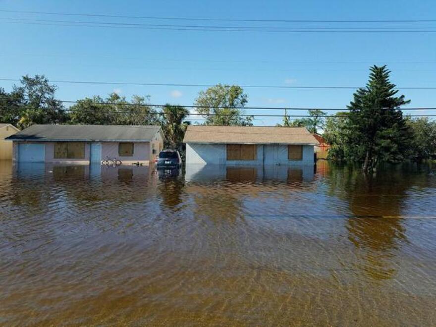 Homes flooded on Bonita Beach Road.