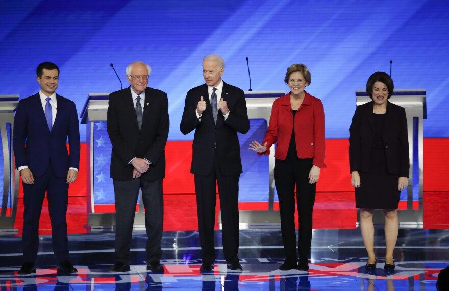 Democratic Presidential candidates at New Hampshire debate.