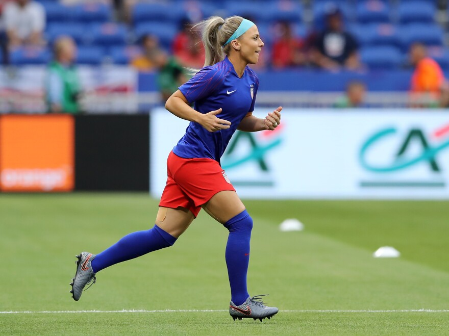 U.S. midfielder Julie Ertz warms up before the World Cup semifinal match against England on Tuesday in Lyon, France.