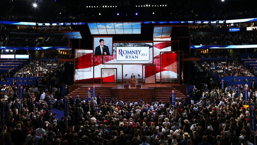 The scene inside the Tampa Bay Times Forum during the GOP convention Wednesday night.