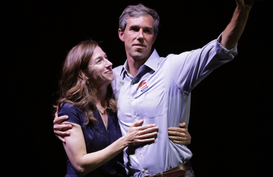 Rep. Beto O'Rourke, D-Texas, the 2018 Democratic candidate for U.S. Senate in Texas, right, stands with his wife, Amy Sanders, at his election night party, Tuesday, Nov. 6, 2018, in El Paso, Texas. O'Rourke lost to Sen. Ted Cruz, R-Texas.