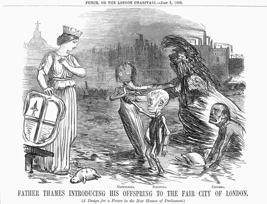 The three sickly beings in this 19th-century drawing represent diphtheria, scrofula (a form of tuberculosis) and cholera. The woman symbolizes the city of London.