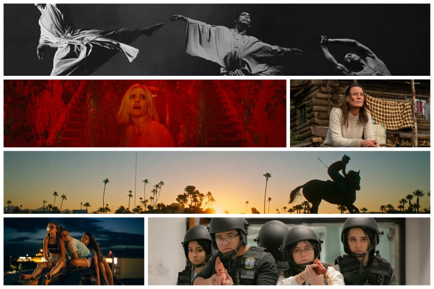 """Stills from """"Ailey"""" by Jamila Wignot, """"The Blazing World"""" by Carlson Young, """"Land"""" by Robin Wright, """"Jockey"""" by Clint Bentley, """"Cusp"""" by Parker Hill and Isabel Bethencourt and """"At the Ready"""" by Maisie Crow."""