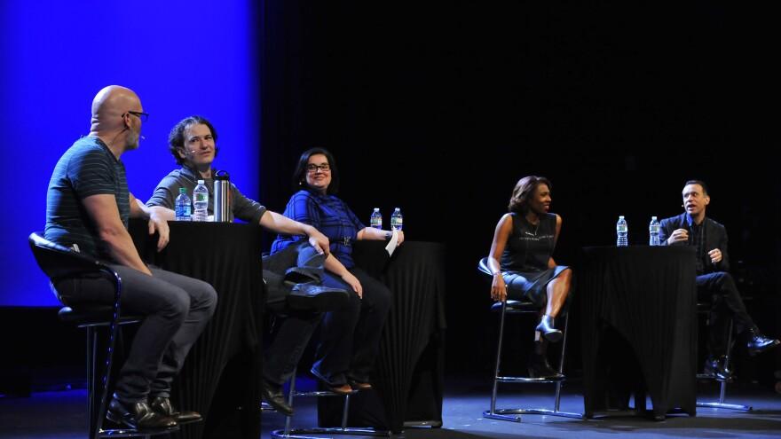Left to right: <em>Pop Culture Happy Hour</em>'s Glen Weldon, Stephen Thompson, Linda Holmes and Audie Cornish, plus special guest Fred Armisen.