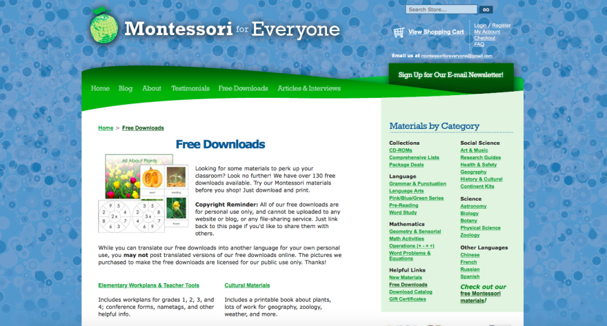 Screenshot of one of the websites that facilitate resources for teachers and parents to educate children.