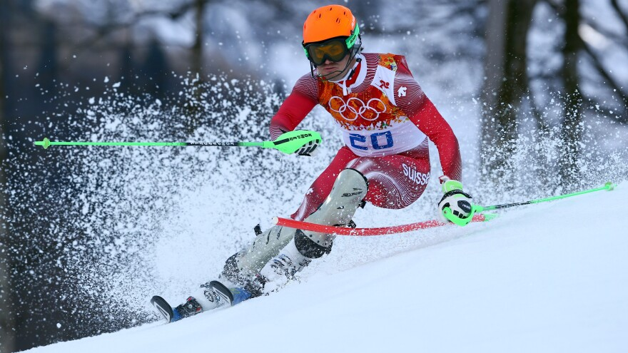 Switzerland's Sandro Viletta, skiing in the slalom portion of the men's super combined, took home the gold.