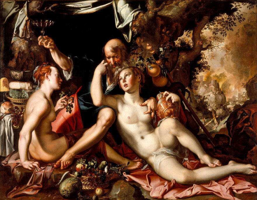 Sodom burns in the background as Lot's daughters seduce him in Wtewael's 1597-1600 depiction of a scene from Genesis.
