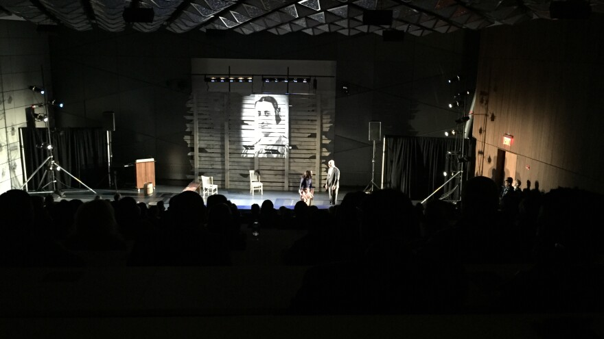 """Costumed actors perform in a dark lecture hall at the New York City Police Academy. The one-act play --€"""" which tells the stories of Emmett Till and Anne Frank — is a new training tool the NYPD is using for recruits."""
