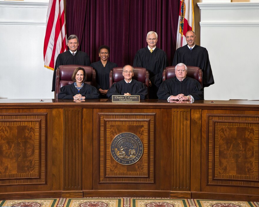 The 2018 Florida Supreme Court under Chief Justice Charles Canady.