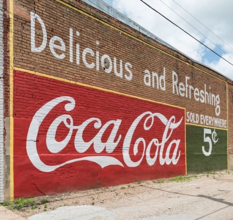 A picture of a Coca Cola advertising mural in Grand Saline, Texas.