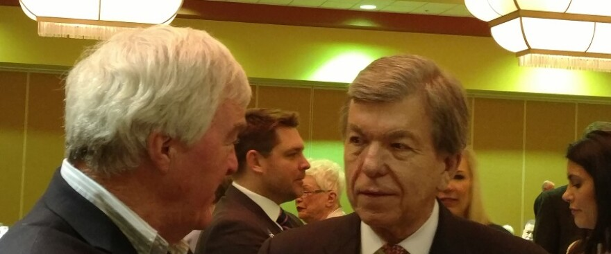 U.S. Sen. Roy Blunt has a chat during a Lincoln Days banquet on Feb. 24, 2017.