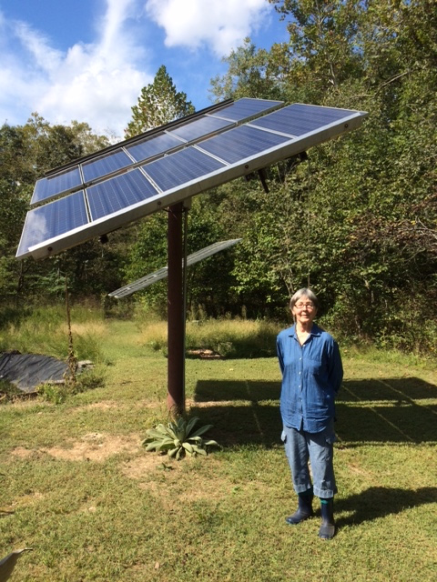 """Carroll County resident Pat Costner has a solar array that, on sunny days and low usage, sends electricity back onto the Carroll Electric Cooperative. She's one of as many as 500 """"net meterers"""" in the state who may be affected as the state revisits this practice."""
