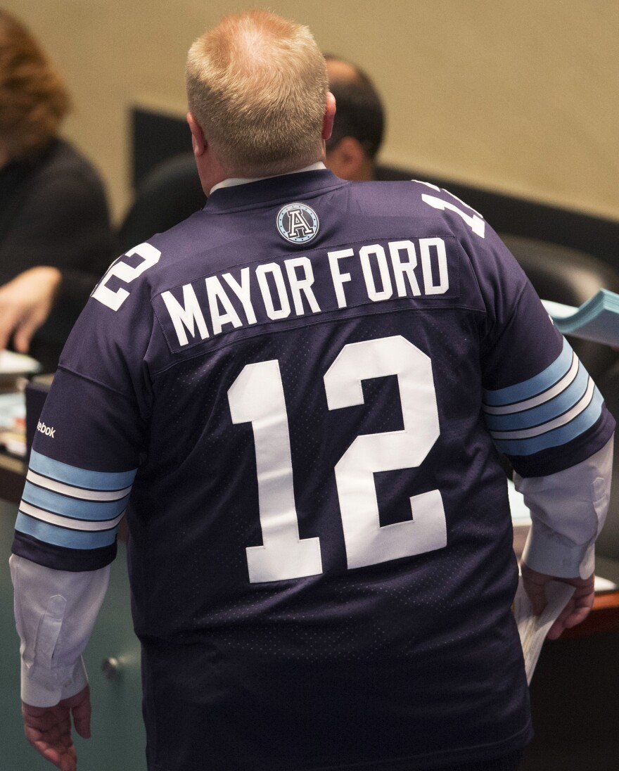 Mayor Rob Ford was wearing a Toronto Argonauts football jersey when at City Hall on Thursday. He was also making some rather crude comments in response to some of the latest allegations about his behavior.