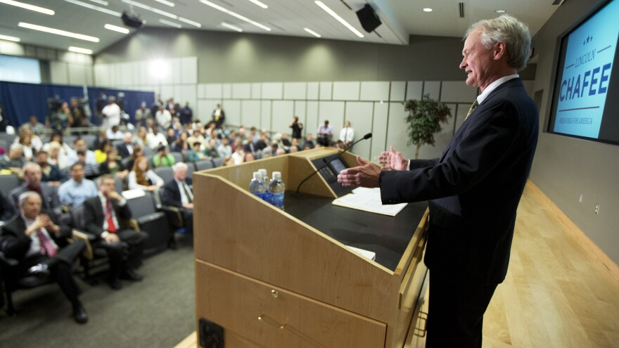 Former Rhode Island Gov. Lincoln Chafee announced his candidacy to a small room with some empty seats at George Mason University in Virginia in June.