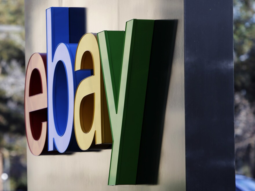 This 2015 file photo shows signage at the entrance to eBay's headquarters in San Jose, Calif.