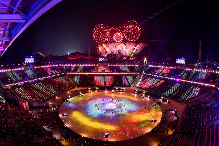 The two-hour ceremony, featuring fireworks, started at 8 p.m. on Sunday in South Korea – 6 a.m. ET Sunday in the U.S.