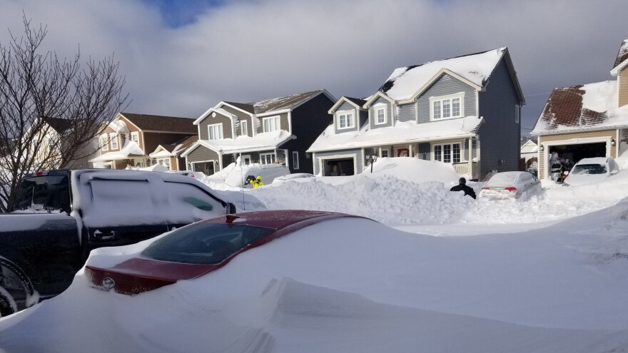 Snow covers cars in Paradise, Newfoundland, Canada, over the weekend in this image obtained from social media.