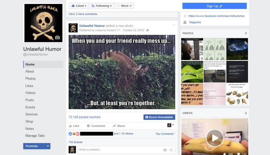 An example of Tim Lawler's Facebook page, Unlawful Humor. <em>Editor's note: Names of individuals have been obscured to protect their privacy.</em>