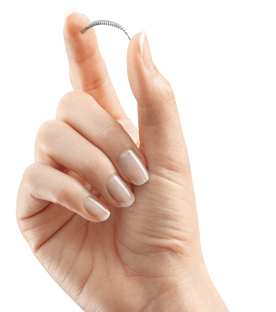 The Essure device is a permanent form of birth control that is implanted in the fallopian tubes.